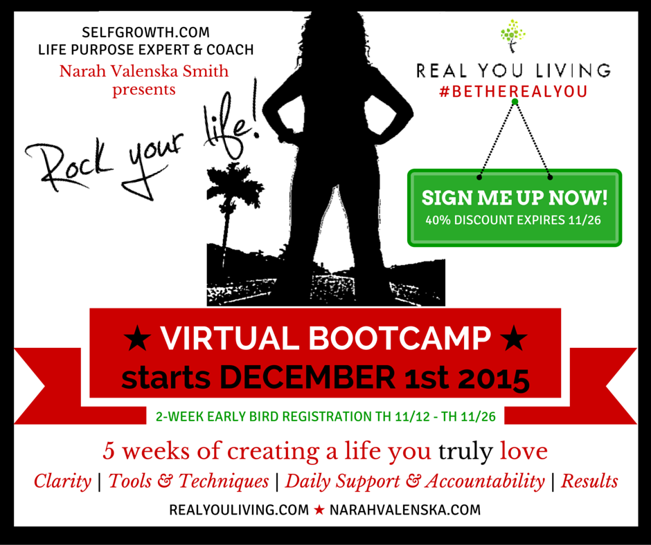 DECEMBER 2015 ROCK YOUR LIFE BOOTCAMP BY NARAH VALENSKA SMITH REALYOULIVING